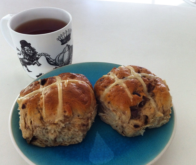 cherry and chocolate hot cross buns