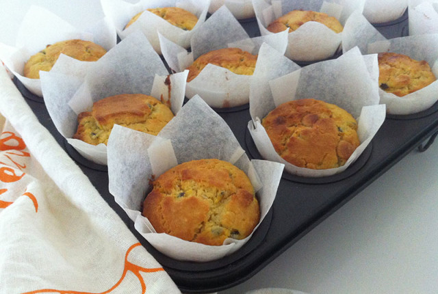 Passionfruit, coconut & white chocolate muffins